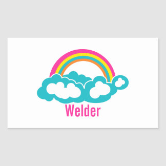 Rainbow Cloud Welder Rectangular Sticker
