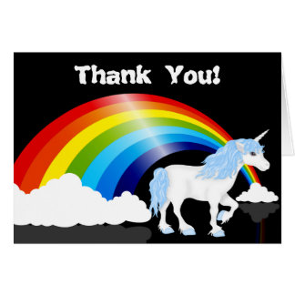 Rainbow, Clouds and Unicorn Thank You Card