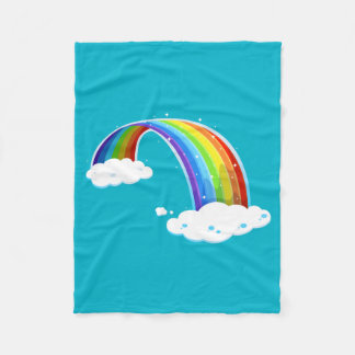 Rainbow Clouds Colorful Glitter Shiny Whimsical Fleece Blanket