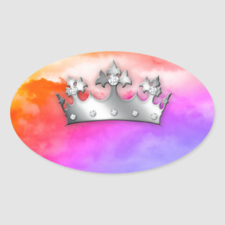 Rainbow Clouds God's Crown of Glory Oval Sticker
