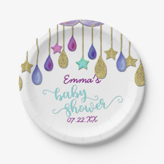 Rainbow Clouds Stars Gold Glitter Baby Shower Paper Plate