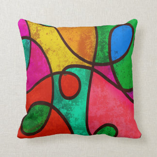 Rainbow clown color designs Fractal Abstract Throw Cushions
