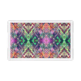 Rainbow Color Abstract Pattern Acrylic Tray