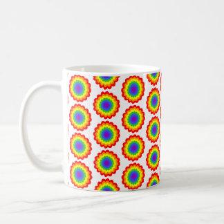 Rainbow Color Flower Pattern. Basic White Mug