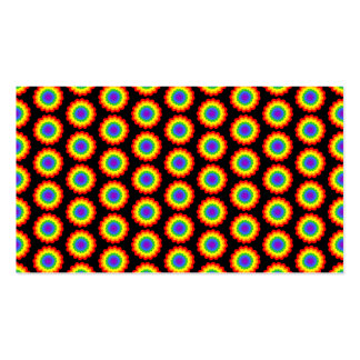 Rainbow Color Flower Pattern. On Black. Pack Of Standard Business Cards