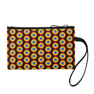 Rainbow Color Flower Pattern. On Black. Coin Purse