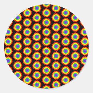 Rainbow Color Flower Pattern. On Black. Round Sticker