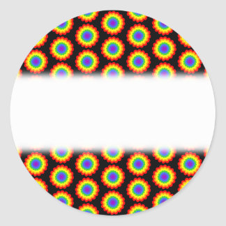 Rainbow Color Flower Pattern. On Black. Round Stickers