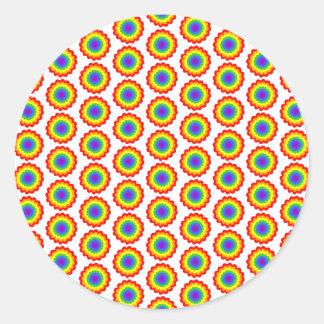Rainbow Color Flower Pattern. Round Sticker