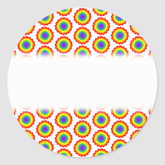 Rainbow Color Flower Pattern. Round Sticker