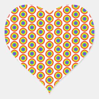 Rainbow Color Flower Pattern. Heart Stickers