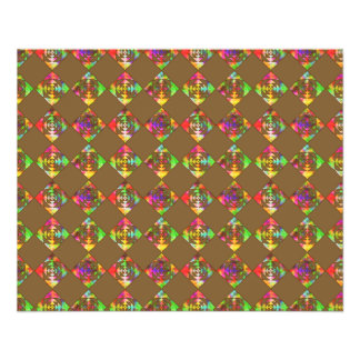 Rainbow Color Flowers. Pattern on Brown. 11.5 Cm X 14 Cm Flyer