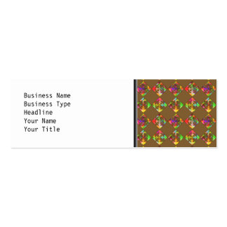 Rainbow Color Flowers. Pattern on Brown. Pack Of Skinny Business Cards