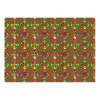 Rainbow Color Flowers. Pattern on Brown. Pack Of Chubby Business Cards