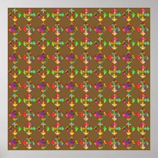 Rainbow Color Flowers. Pattern on Brown. Print