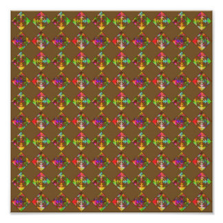 Rainbow Color Flowers. Pattern on Brown. Posters