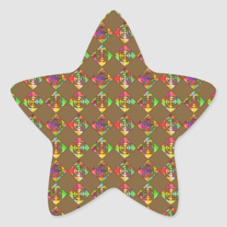 Rainbow Color Flowers. Pattern on Brown. Star Sticker