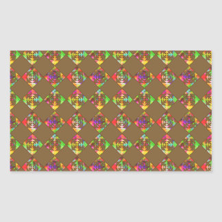 Rainbow Color Flowers. Pattern on Brown. Sticker
