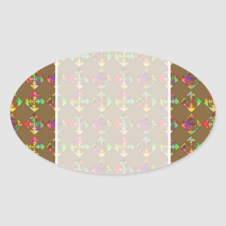 Rainbow Color Flowers. Pattern on Brown. Oval Sticker
