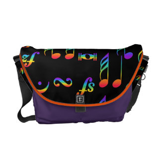 Rainbow Color of Music Notes Collage Messenger Bag