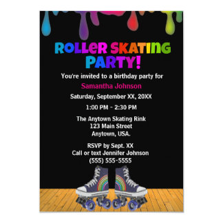 Rainbow Color Paint Drip Roller Skating Birthday Card