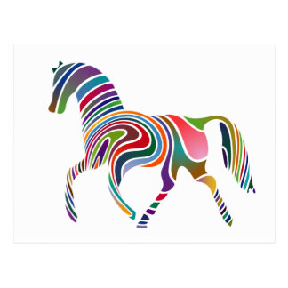 Rainbow Color-Striped Horse Postcard