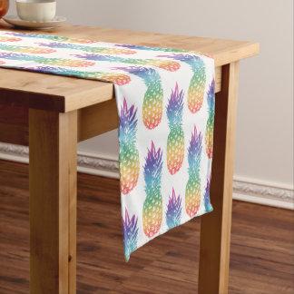 Rainbow color tropical pineapple fruit pattern short table runner