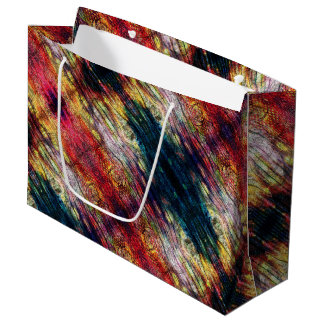 Rainbow Color Wood Pattern Large Gift Bag