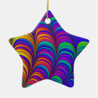 Rainbow colored 3D abstract art Ceramic Star Decoration