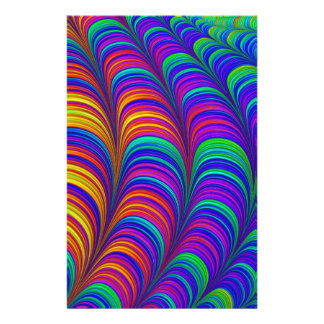 Rainbow colored 3D abstract art Custom Stationery