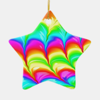 Rainbow colored 3D abstract pattern Ceramic Star Decoration