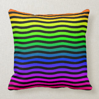 Rainbow Colored Background With Black Wavy Lines Cushion