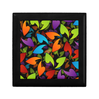 rainbow colored background with leaves keepsake boxes