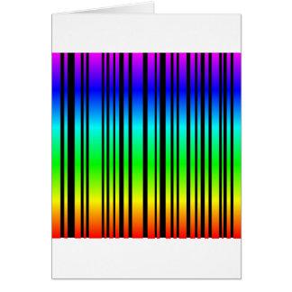 Rainbow colored bar code greeting card