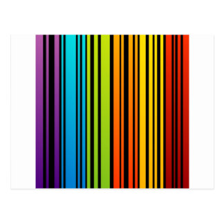 Rainbow colored bar code postcard