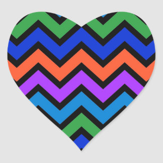 rainbow colored chevron zigzag pattern design heart sticker