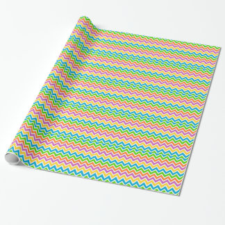 rainbow colored chevron zigzag pattern design wrapping paper