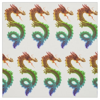 Rainbow Colored Chinese Dragons Fabric