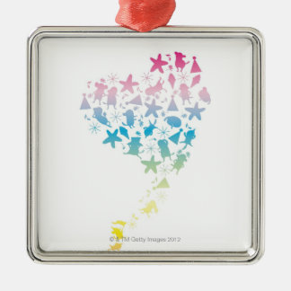 Rainbow Colored Dogs and Stars Christmas Ornament
