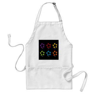 Rainbow colored floral design element apron