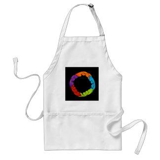Rainbow colored floral design element aprons