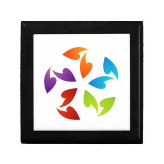 Rainbow colored floral design element trinket box