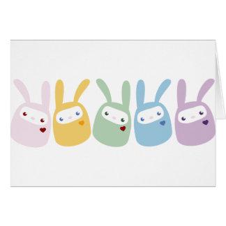 Rainbow Colored Gumdrop Bunnies Greeting Card