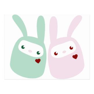 Rainbow Colored Gumdrop Bunnies Postcard