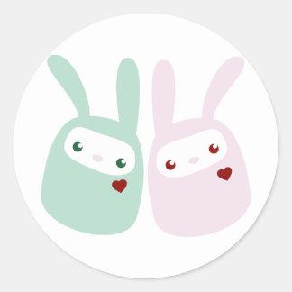 Rainbow Colored Gumdrop Bunnies Round Sticker