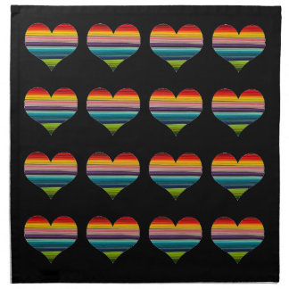 Rainbow Colored Heart Design Multicolor Stripes Napkin