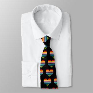 Rainbow Colored Heart Design Multicolor Stripes Tie