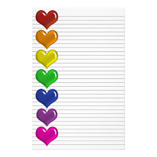 Rainbow Colored Hearts optional lines stationery