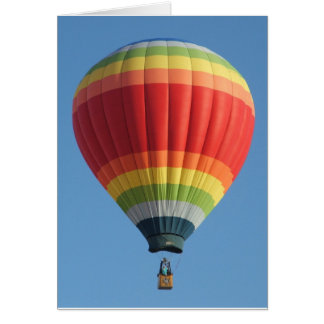 Rainbow colored Hot air balloon Card
