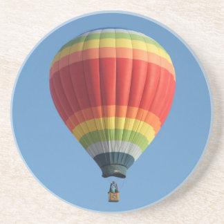 Rainbow colored hot air balloon coaster